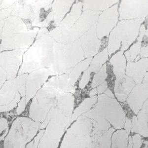Statuario white marble effect quartz kitchen worktop