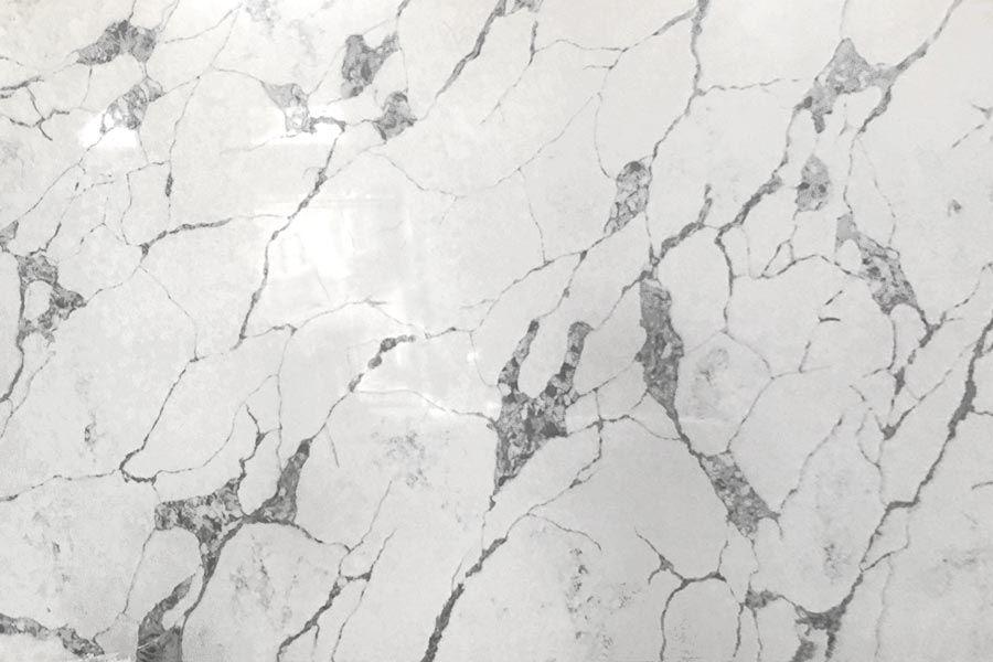 Statuario white marble effect quartz kitchen worktop