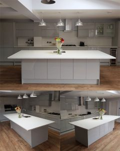 Quartz kitchen worktop in Bianco Luminoso 30mm