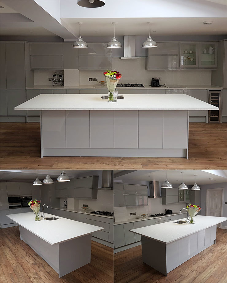 Quartz Kitchen Worktop In Bianco Luminoso 30mm