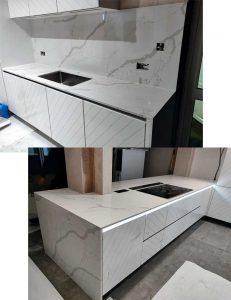Bianco Calcutta Quartz Stone Kitchen Worktops